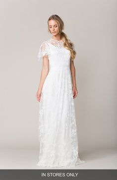 Sarah Seven 'Calais' Flutter Sleeve Lace A-Line Gown (In Stores Only) available at #Nordstrom