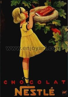 Chocolate Chocolat Nestle Candy Bird Girl Vintage Poster Reproduction FREE S//H