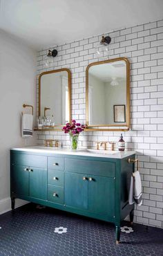 We are starting our master bathroom renovation and I'm sharing my favorite bathroom designs that have inspired me for our Modern Vintage Bathroom! Bathroom Renovation Trends, Bathroom Furniture, Bathroom Interior Design, Vintage Bathroom, Shabby Chic Bathroom, Chic Bathrooms, Master Bathroom Renovation, Modern Vintage Bathroom, Bathroom Flooring