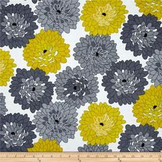 Fresh Bloom Little Blooms Gray/Citrine from @fabricdotcom  Designed by Michele D'Amore for Benartex, this cotton print is perfect for quilting, apparel and home decor accents. Colors include shades of grey, citrus yellow, black and white.