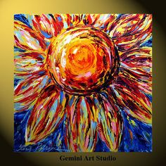 Sunflower painting print on canvas flower Gemini 32x32