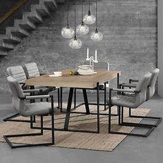 en casa esstisch eiche mit 6 stuhlen whitewash 180x100 tisch stuhle grau