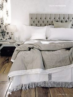 ♅ Dove Gray Home Decor ♅ White and linen grey  Decor Pad ck maybe paint my bedroom furniture grey, so tired of black