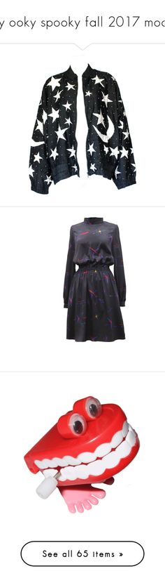 """""""my ooky spooky fall 2017 mood"""" by midnightcrew ❤ liked on Polyvore featuring jackets, dresses, faded dress, silk print dress, shirring elastic dress, silk dress, shirred dress, filler, other and stuff"""