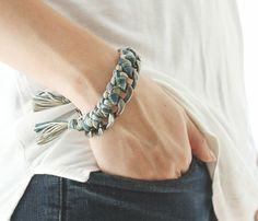charcoal chain + mixed blues thread bracelet