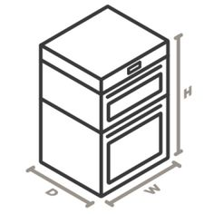 An icon of the appliance viewed from a corner looking down. Lines designate and measure the height, width, and depth of each side Electric Wall Oven, Single Oven, Built In Microwave, Oven Racks, Appliance, Corner, Stainless Steel, Cleaning, Door Wall