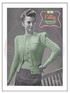 1940s Ladies Twinset Vintage Knitting Pattern - PDF Instant Download