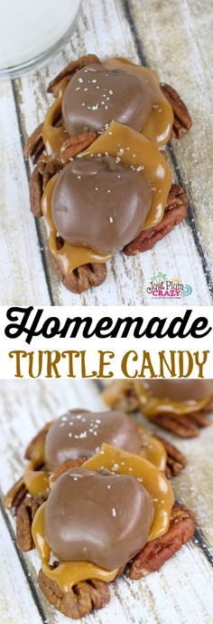 The Harvest Homemade Turtle Candy Recipe is made with pecans, Caramel Creams and chocolate for a taste that will keep you coming back for more. An easy to make homemade turtle candy recipe that will make your Fall feast complete. Holiday Baking, Christmas Baking, Homemade Christmas Candy, Köstliche Desserts, Dessert Recipes, Recipes Dinner, Homemade Turtles, Chocolates, Turtles Candy