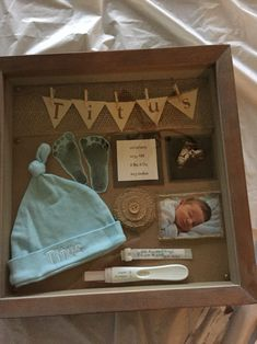 DIY shadow box idea for baby arrival :)
