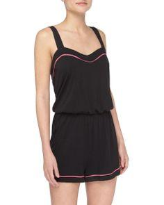 Cusp  Cosabella - Bella Sweetheart-Neck Lounge Jumpsuit, Black/Miami Pink