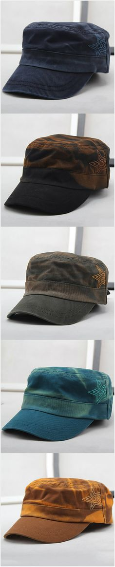 [$ 10.21]   Men Summer Cotton Hat Outdoor Sports Casual Flat Top Cap Military Sun Shade Hat