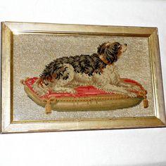 Victorian Beadwork and Woolwork Spaniel on a Tasseled Cushion