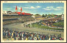 Louisville Kentucky KY 1942 Churchill Downs Kentucky Derby Vintage Postcard