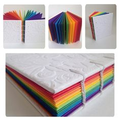 Miolo em papel com 8 cores (bloco cores), 64 folhas. Rainbow Notebook Bookbinding Notebook with sewing (apparent ) . Front cover in white paper with embossed flowers. Core colored, paper with 8 colors, 64 sheet. Notebook Diy, Handmade Notebook, Handmade Journals, Handmade Books, Book Crafts, Diy And Crafts, Bookbinding Tutorial, Book Binding, Diy Birthday