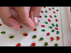 Designer bead work embroidery saree - Full process - YouTube