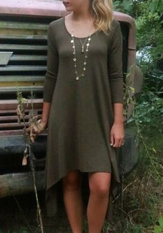 Stylish Scoop Neck Long Sleeve Solid Color High Low Hem Women's Dress Long Sleeve Dresses | RoseGal.com Mobile