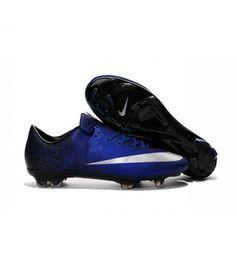 timeless design c00b9 bd0d9 Acheter Nouvelle Chaussure de Football Nike Mercurial Vapor X FG Bleu Royal  Argent Noir pas cher