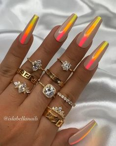 Ready to ship. Just click the link👇🏻 Shellac Nail Art, Aycrlic Nails, Best Acrylic Nails, Swag Nails, Coffin Nails, Coffin Press On Nails, Neon Nail Art, Crazy Nail Art, Crazy Nails