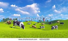 Farm landscape with cows grazing on a green meadows and with rustic house and windmill in the distance. Realistic 3D illustration was done from my own 3D rendering file.