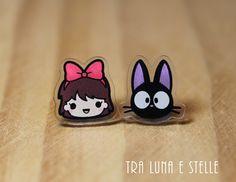 Stud earrings Kiki and Jiji Kiki's Delivery by TraLunaeStelle