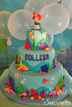 little mermaid cakes.The Best Ideas for Little Mermaid Birthday Cake Little Mermaid Birthday Cake, Little Mermaid Cakes, Birthday Cake Girls, The Little Mermaid, 21st Birthday, Birthday Ideas, Ariel Cake, Ocean Cakes, Disney Cakes