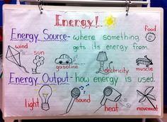 grade one science: energy sources and outputs