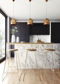 The most elegant Scandinavian kitchen design interior see at these unbelievable Scandinavian kitchen designs. They are every completely simple, protester and in the similar times elegant. Scandinavian kitchen designs can be white, grey or blue. Kitchen Lighting Design, Interior Design Kitchen, Luxury Interior, Interior Design Simple, Scandinavian Modern Interior, Marble Interior, Simple Kitchen Design, Scandinavian Furniture, Room Interior