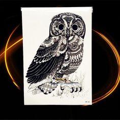 HOT Blue Eye Owl Waterproof Temporary Tattoo Women Men Large Body ARt ARm Tattoo Stickers 21x15CM Large Body ARm Legs Tatoo Owl