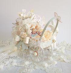 Paper Baby Carriage - - May Challenge By Tanya Cloete Graphic 45 - Little Darlings - Deluxe Collector's Edition Shabby Chic Crafts, Vintage Crafts, Confirmation Cards, First Baby Pictures, Victorian Home Decor, Baby Scrapbook, Scrapbook Paper, Scrapbooking, Pastel Paper