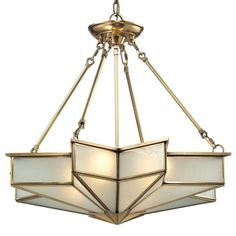 The Decostar series from Elk Lighting emanates an exciting star-shaped pattern with a timeless art deco flair. The design features sharp, dramatic angles made of frosted glass held by a solid Brushed Brass frame.  Available in flush, 2 pendant sizes and a wall sconce.