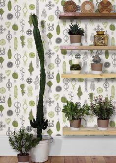 Mini Moderns Equinox Wallpaper - Asparagus