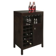An essential addition to your dining room or parlor, this wood wine bar showcases a dark espresso finish and an 18-bottle storage rack.      ...