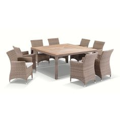 Sahara 8 Seater Square Teak Top Dining Table And Chairs In Half Round Wicker - Brushed Wheat, Cream cushions - 1032202 For Sale, Buy from Outdoor Dining Settings collection at MyDeal for best discounts. Round Outdoor Dining Table, Wicker Dining Set, Round Dining Set, Square Dining Tables, Dining Table Chairs, Dining Sets, Dining Area, Timber Table, Teak Table