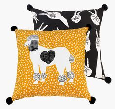 Inspired by an eccentrically-styled poodle spotted at a wedding party in Japan, the front of this completely awesome statement floor cushion by Delhi-based desi