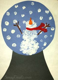 Make this creative fingerprint snow globe craft foor kids! All you need is paper, paint, and a marker to make this Christmas/winter art project. Daycare Crafts, Classroom Crafts, Toddler Crafts, Kid Crafts, Preschool Christmas, Christmas Activities, Christmas Art, Preschool Winter, Christmas Poems