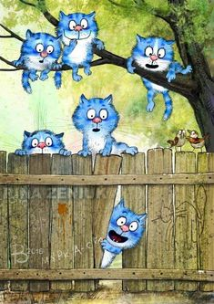 Ideas Funny Cats Illustration Draw For 2019 Draw Cats, I Love Cats, Cool Cats, Splat Le Chat, Image Chat, Blue Cats, Here Kitty Kitty, Cat Drawing, Whimsical Art