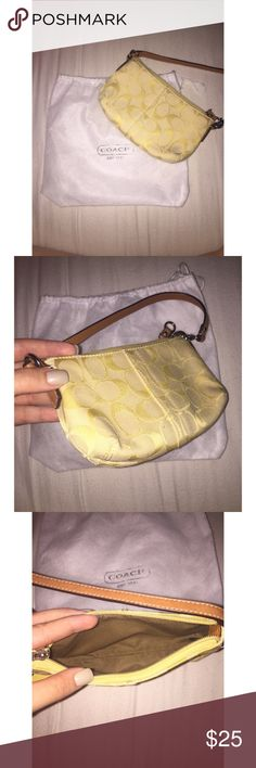 Yellow Coach Wristlet Small yellow Coach Wristlet with minor marks on the bottoms corners of the bag, absolutely no major damage Coach Bags Clutches & Wristlets