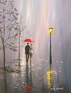 Pete Rumney Art Original Canvas Painting Perfect Rainy Day Walking In The Rain Rain Days, Walking In The Rain, Hand Painting Art, Room Organization, Art For Sale, Buy Art, Artworks, Mandala, October