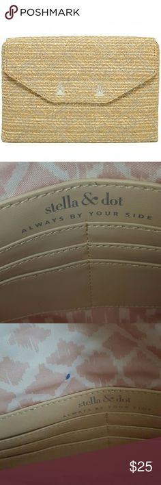 """Stella  & Dot city slim Sold out everywhere super cute  clutch  that can be made into a crossbows with attached  silver chain. Small ink mark. Measurements: height: 7"""", length: 10.75"""", width: .625"""". Stella & Dot Bags Clutches & Wristlets"""
