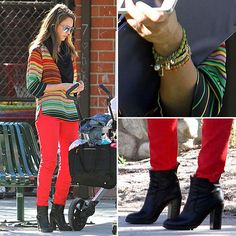 Jessica Alba in an awesome top - designer unknown - and ALICE + OLIVIA red skinny jeans