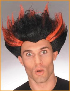 Fire Storm Wigs Halloween Wigs Black/Red Wig