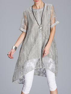 #AdoreWe StyleWe Tunics - MITING Casual High Low Short Sleeve Floral Tunic - AdoreWe.com