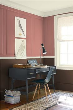 Look at the paint color combination I created with Benjamin Moore. Via @benjamin_moore. Upper Wall: Texas Rose 2092-40; Lower Wall: Appalachian Brown 2115-10; Trim & Ceiling: Rock Candy 937.