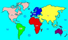 World Map Continents and Oceans   map of continents