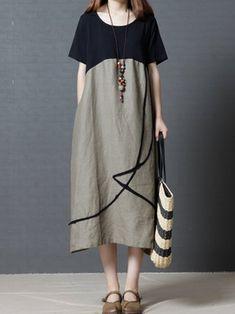 Paneled Short Sleeve Plus Size Casual Linen Dress