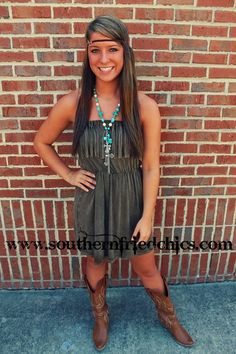 Olive Fringe Dress $46.99! #SouthernFriedChics