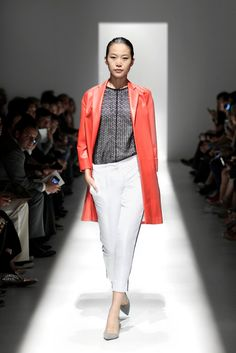 red leather coat & white pants
