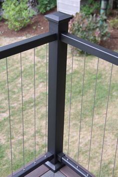 Structural post for Fortress Vertical Cable Railing available at Deck Expressions Veranda Railing, Patio Railing, Balcony Railing Design, Deck With Pergola, Patio Design, Railing Ideas, Railings For Decks, Outdoor Railings, Black Pergola