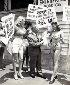 A picket of actresses and extras, led by actress Marie Wilson, requiring the abolition of corsets