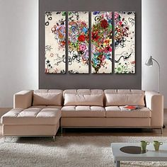 Stretched Canvas Art Colored Hearts Set of 4 – USD $ 99.99
